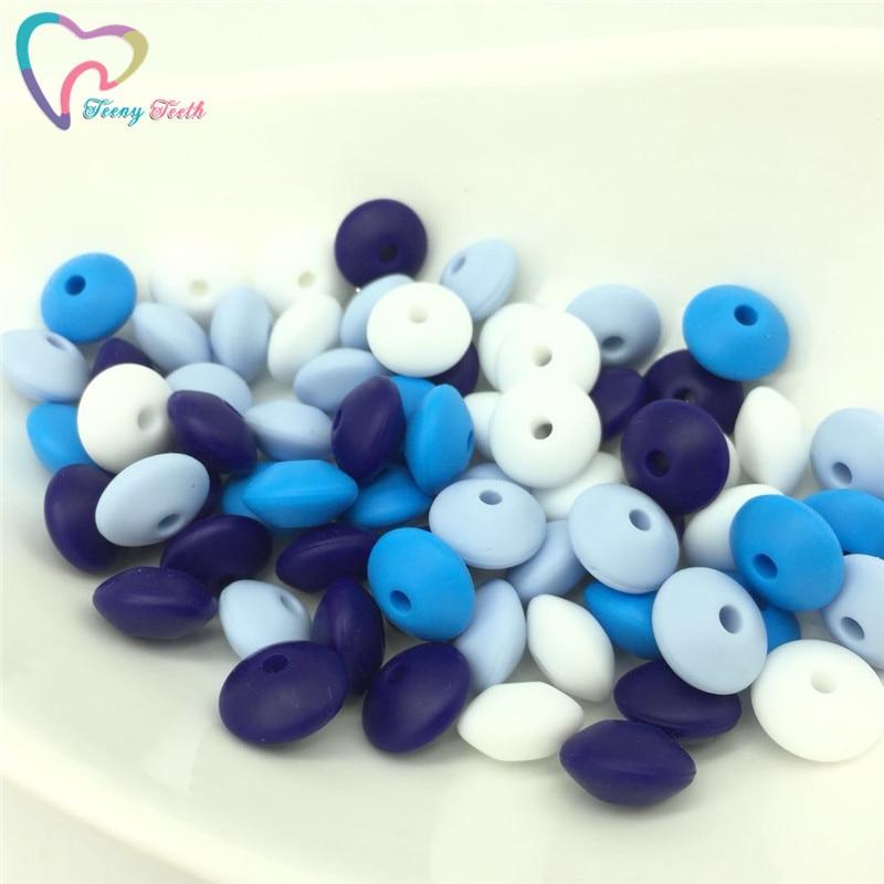 Teeny Dentes 50 pcs Azul Cores Mix Silicone Lentilha Bead Cadeia Chupeta Do Bebê Dentição Colar DIY Contas Planas de Grau Alimentício silicone