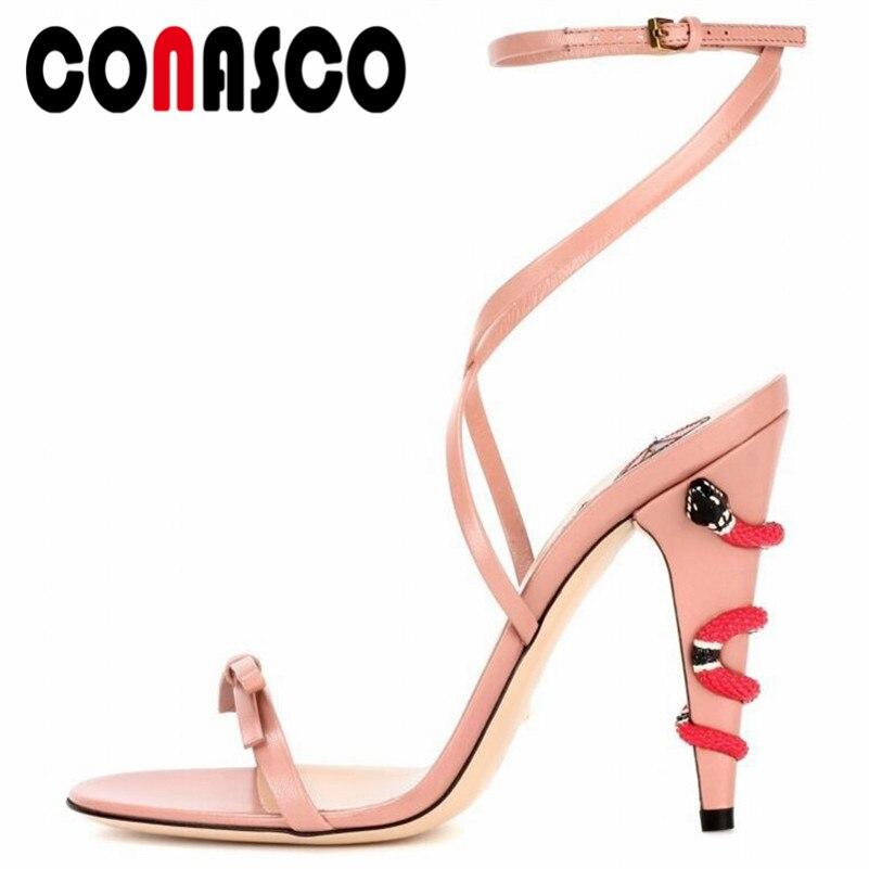 CONASCO-صندل ناعم على شكل فراشة للنساء ، أحذية صيفية للحفلات ، بإبزيم من الألياف الدقيقة ، كعب عالي للغاية ، للرقص والنوادي الليلية