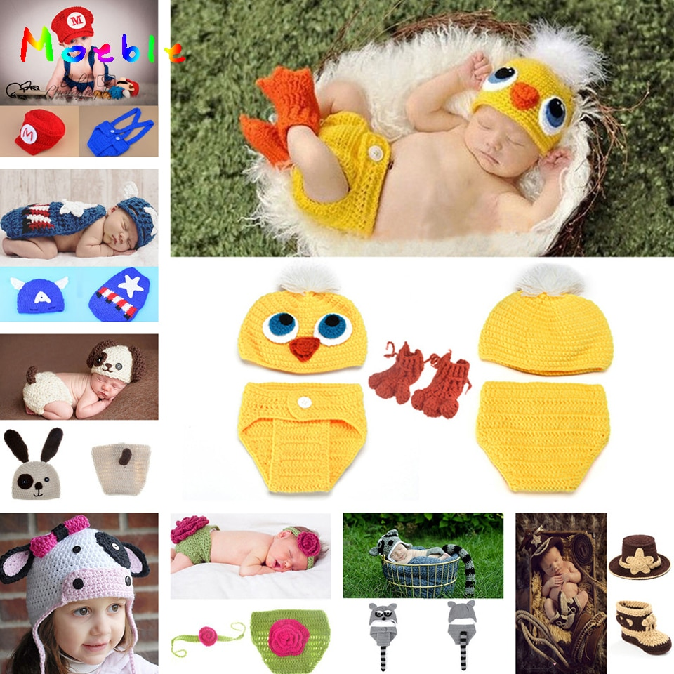 Yellow Duck Newborn Baby Crochet Photography Props Baby Knitted Hat Pants Set Crochet Baby Animal Costume 0-10M 1set MZS-14035