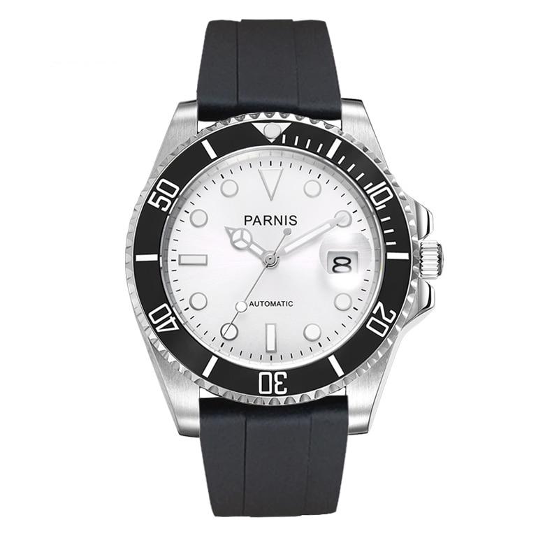 Parnis 40mm reloj hombres tritio automático mecánico buceo relojes mekanik erkek kol saati reloj automático hombre relogio