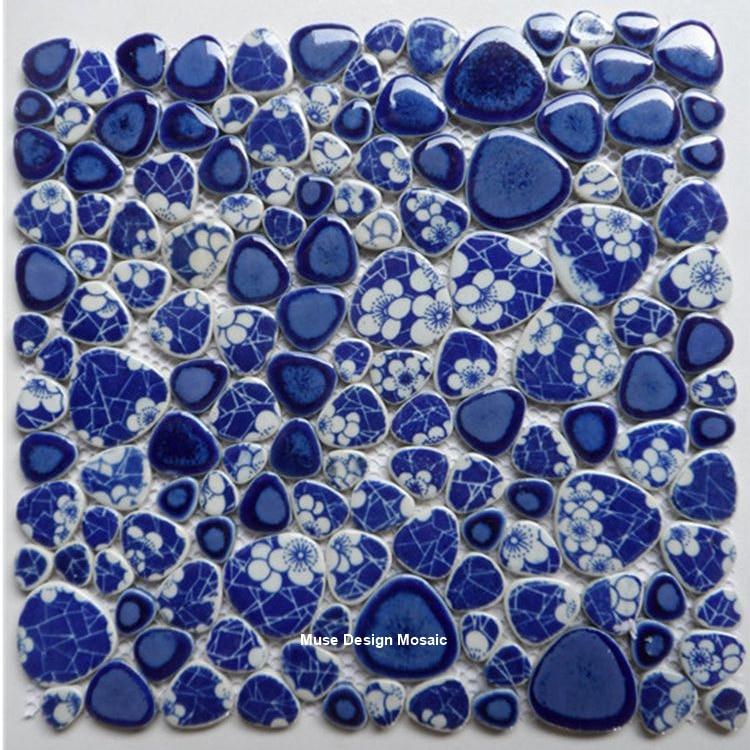 China Blue Glazed Pebble Ceramic Mosaic Tile, Kitchen Backsplash Shower Swimming Pool Wall Tile, Floor Tile Home improvment