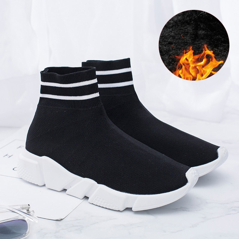 Sooneeya Herfst Stretch Sok Laarzen Vrouwen Winter Sneeuw Bont Enkellaarsjes Unisex Schoenen Big Size 45 Merk Sok Schoenen Paar sneakers