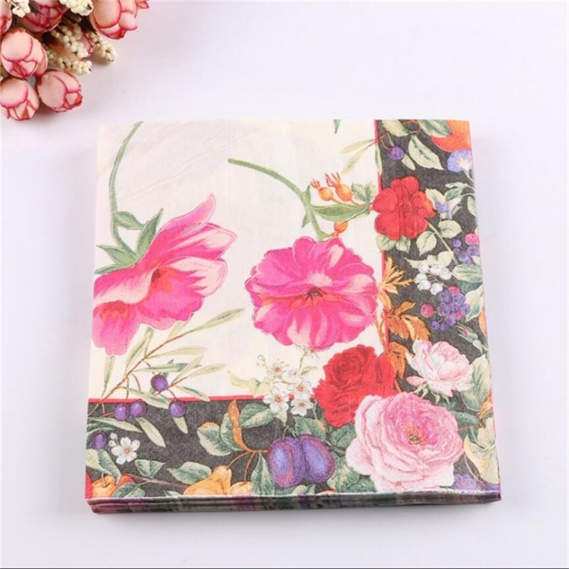 20 piezas 2-capa de Casamento flor boda servilletas de papel decoupage boda cumpleaños decoración para suministros para fiesta en casa