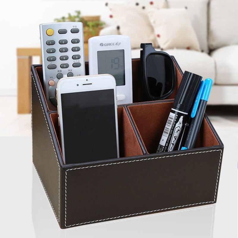 Organizador de escritorio de cuero PU caja de almacenamiento de 3 rejillas caja de Control remoto titular de la pluma caja de artículos varios para suministros de oficina A097