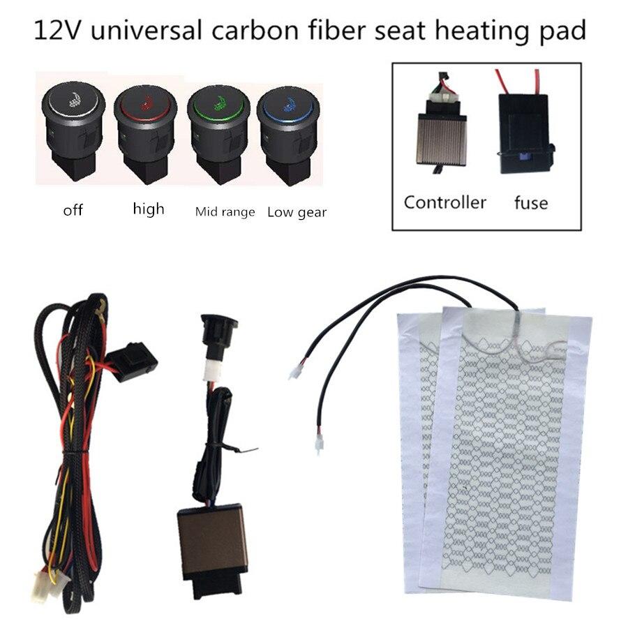 Calentador de asiento universal de 12V, cojín de automóvil, soporte caliente, interruptor inteligente de 4 colores con símbolo, 4 piezas de cubierta calefactora para coche