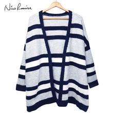 Female Cardigans Women 2018 Autumn Winter Cardigan Loose Sweaters Jumper Outerwear Stripe Overcoat Tops Long Sleeve Plus Size
