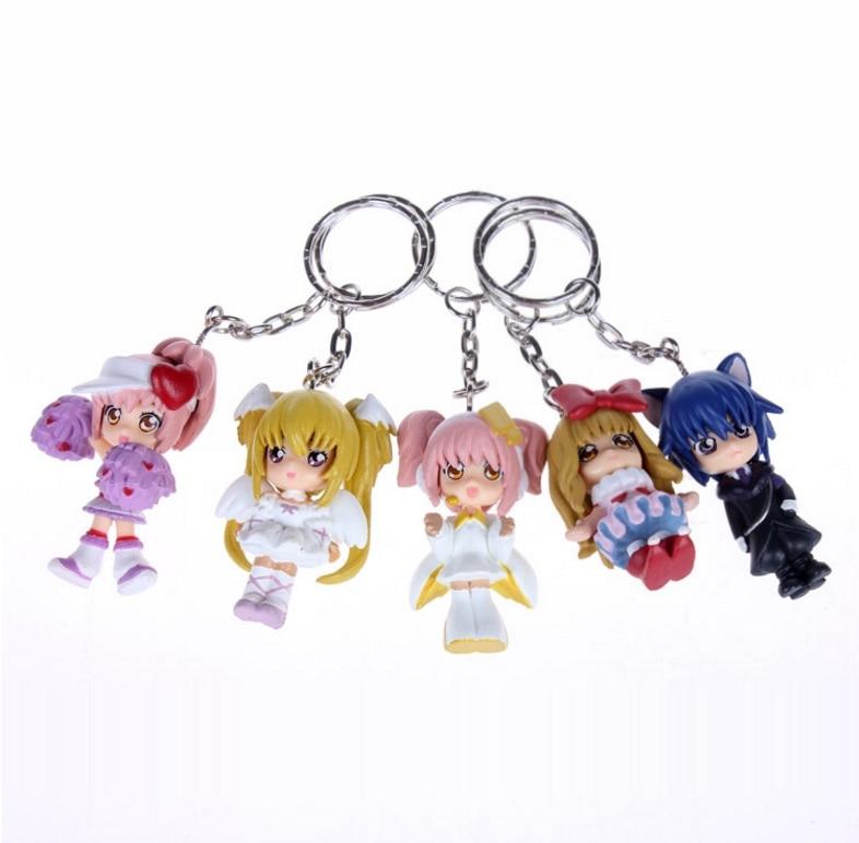 5 unids/lote Anime Shugo Chara juguete de figura de pvc Shugo Chara correa para teléfono llavero colgante juguetes regalos