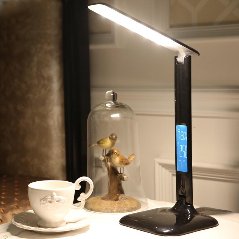 Lámpara de escritorio, luces nórdicas, lámparas de oficina, lámpara de lectura Led, lámpara de mesa, lámpara Led ajustable, reloj Calendario, reloj moderno y Flexible