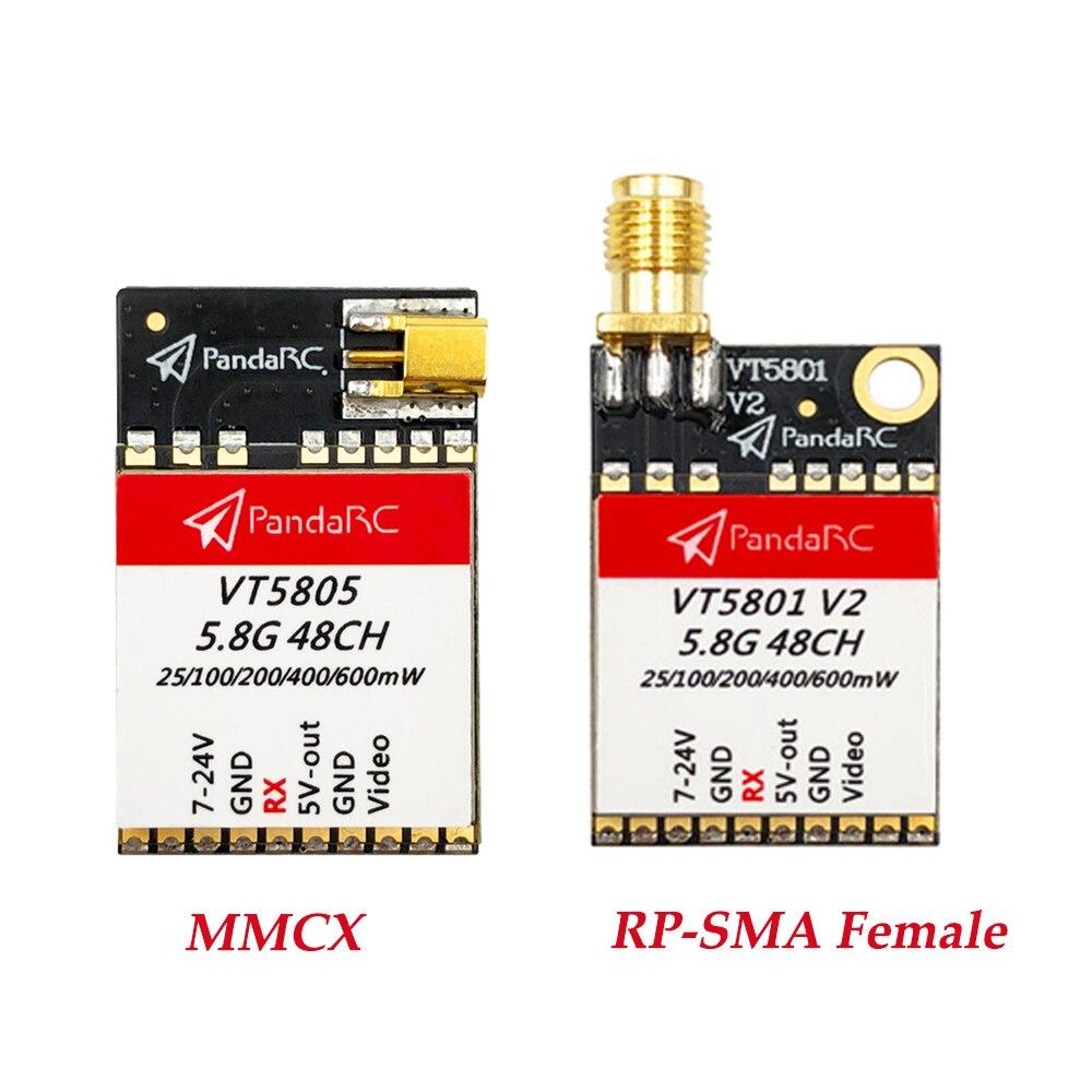 Transmisor FPV conmutable hembra PandaRC VT5805/VT5801 5,8G 48CH 25/100/200/400/600mW MMCX/RP-SMA para piezas de recambio de drones RC