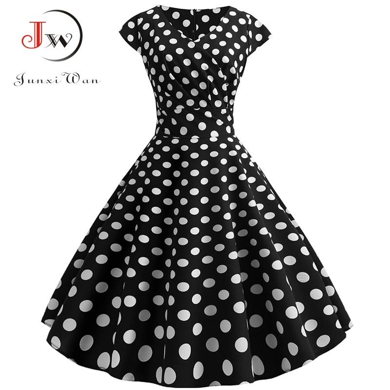 Verão preto polka dot vestido feminino 2020 v pescoço manga curta elegante vestido de festa plus size 50s 60s swing vintage rockabilly vestido
