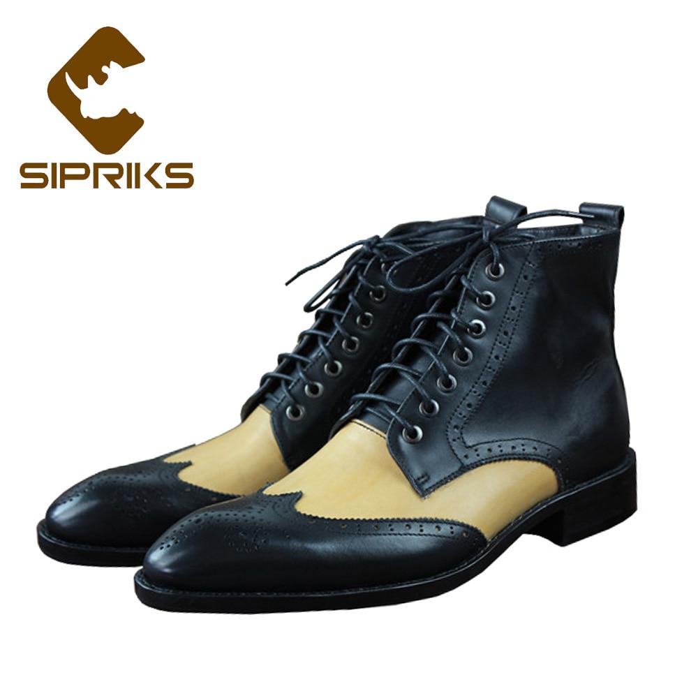Sipriks-أحذية جلدية فاخرة مصنوعة يدويًا للرجال ، أحذية كاوبوي للرجال مع طبعات أجنحة