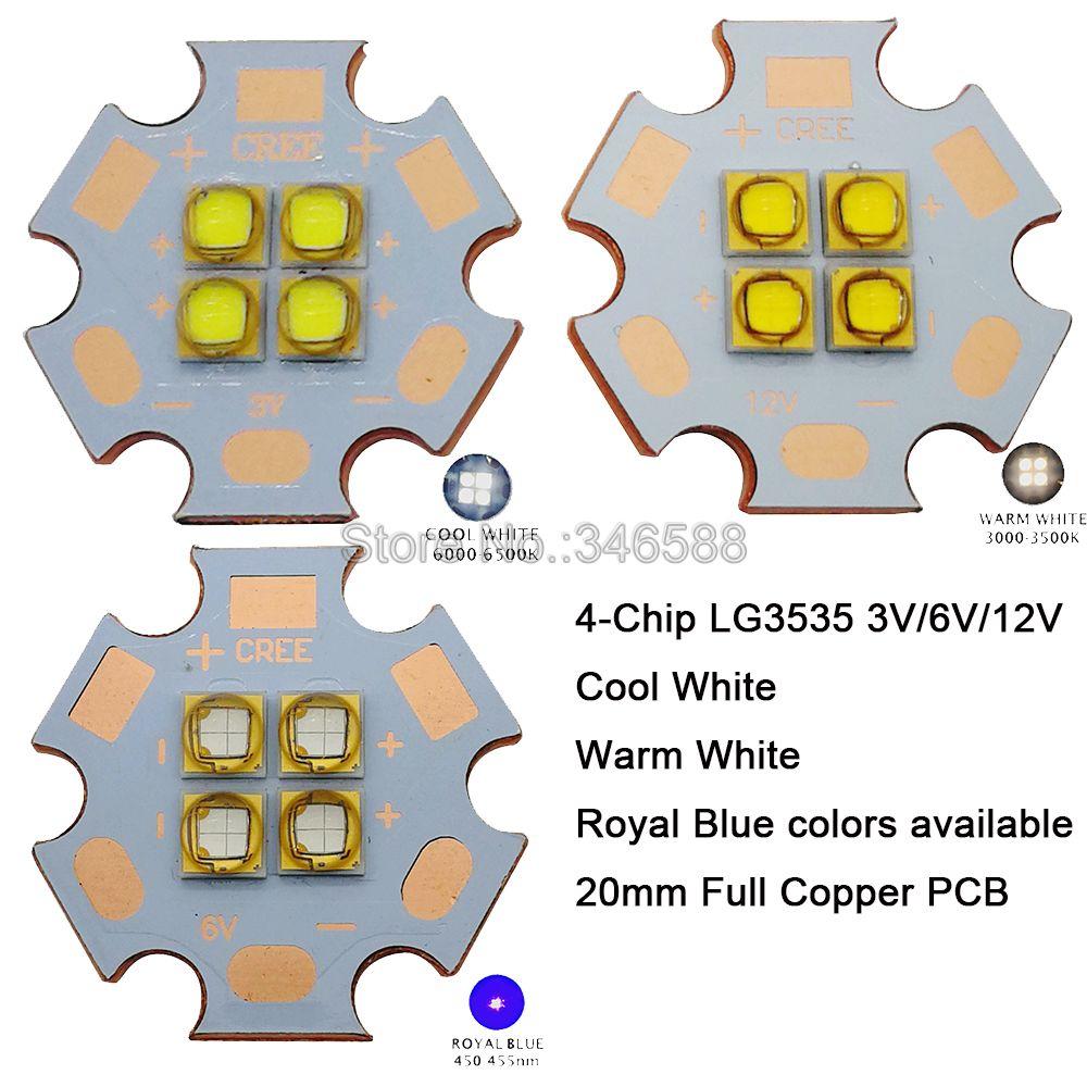 10 قطعة 3V / 6V / 12V LG3535 4 رقائق 18W عالية الطاقة LED باعث بارد الأبيض الدافئة الأبيض 450nm LED 20 مللي متر النحاس PCB بدلا من MKR XHP50