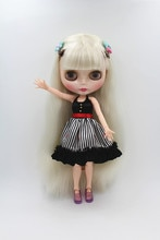 Blygirl poupée blanc frange cheveux Blyth joint corps poupée mode peut changer de maquillage
