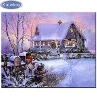 Peinture diamant theme  Sweet Christmas Snow House   broderie complete 5D  perles carrees ou rondes  points de croix  decoration dinterieur  cadeau