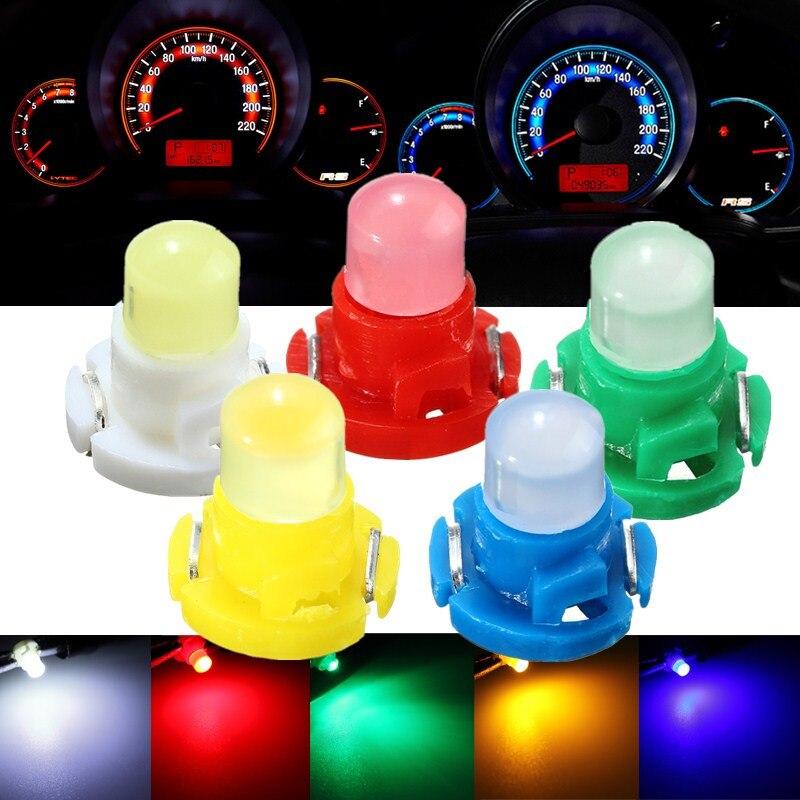 4 Uds T4 cuña LED lámpara de señal de coche bombilla instrumento tablero lámpara Base de clima luces bombilla azul verde rojo blanco amarillo