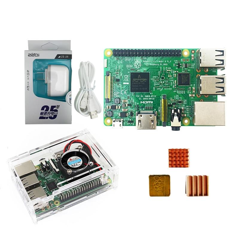 Bluetooth com Case Plugue de Alimentação dos Eua com Logotipo Dissipadores de Calor com Wifi Kit com Wifi Raspberry Modelo & Bluetooth pi 3 b