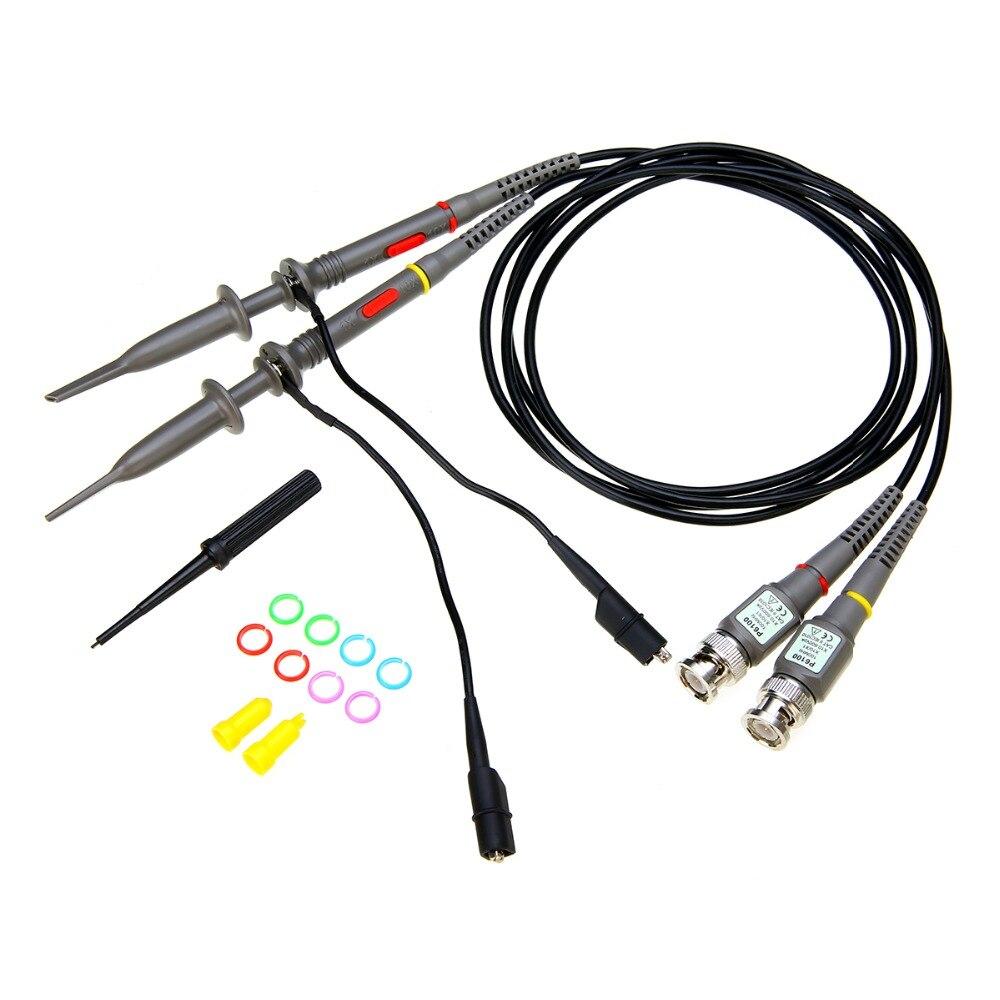 2 pièces BNC Oscilloscope sondes P6100 100MHz analyseur de portée de précision pince crocodile sonde Test conduit Mayitr Instruments de mesure