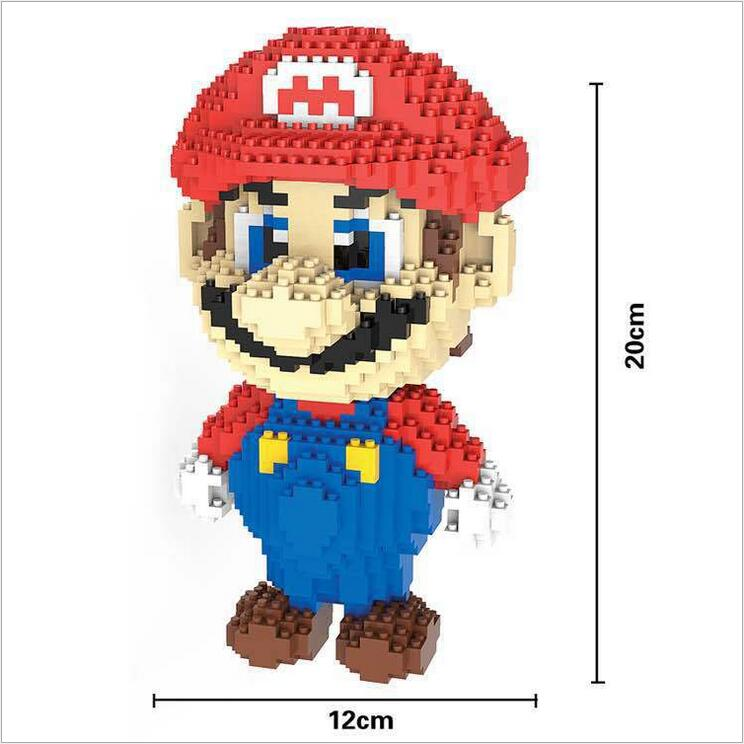 HC Big size Super Mario Micro Blocks Stitch Micro blocks DIY Building Toys Cute Cartoon Juguetes Auction Figures Kids Gifts 9003