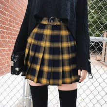 Spring Summer Harajuku Women Fashion Skirts Cute Yellow Black Red  Pleated Skirt Punk Style High Waist Female Mini Short Skirt