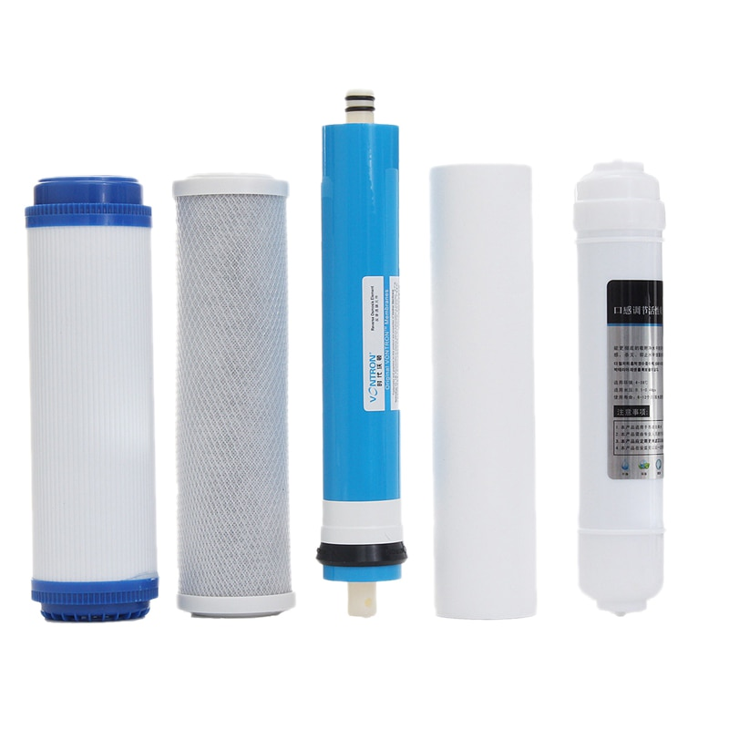 ¡Caliente! 5 uds 5 etapa Ro Filtro de ósmosis inversa equipo de cartucho purificador de agua de reemplazo con filtro de agua de membrana 50 Gpd Ki