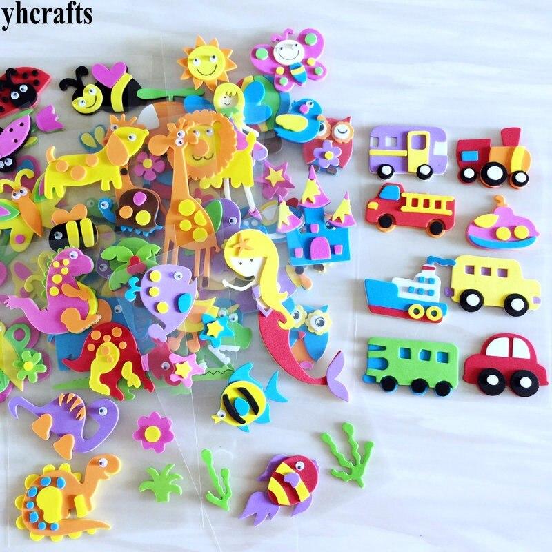 1 saco/lote, animal santa natal carro flor sereia princesa dinossauro coruja peixe 3d espuma adesivos elementos decorativos diy brinquedos presentes