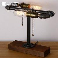 Loft Vintage Industrial Water Pipe Table Light Edison Desk Wood Lamp Retro Steampunk Double Edison Bulb Desk lamp