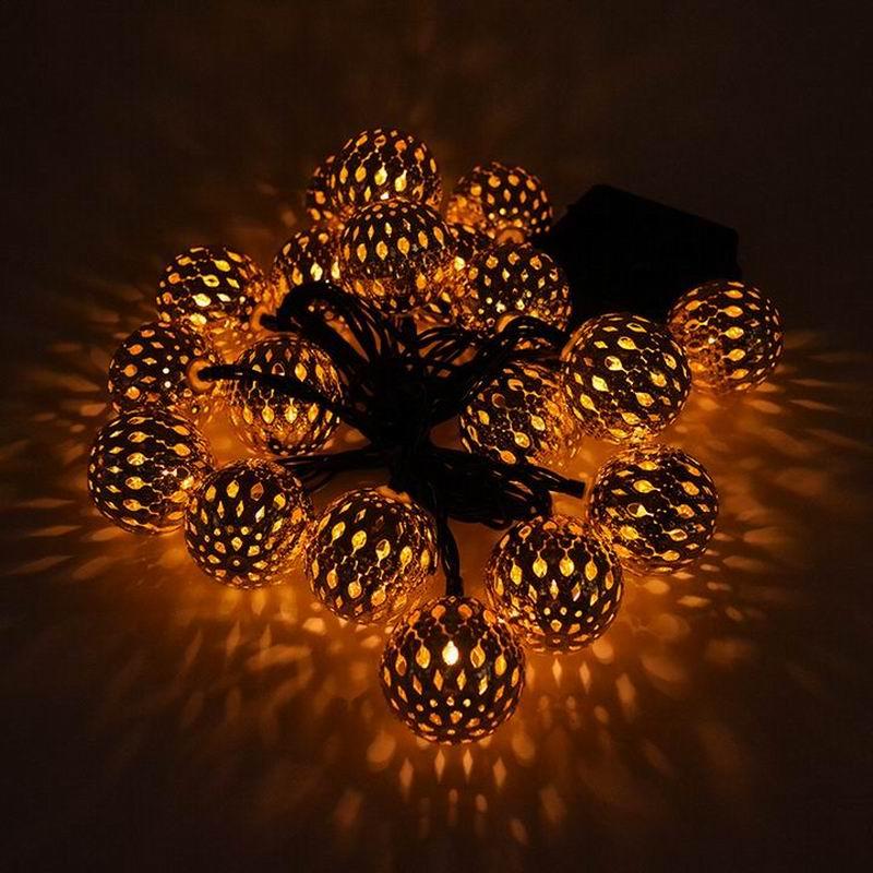Nuevo 20 cabezas de energía Solar bolas de Marruecos cadena 20LED Bola de Metal decoración de Navidad Festival lámpara celebración