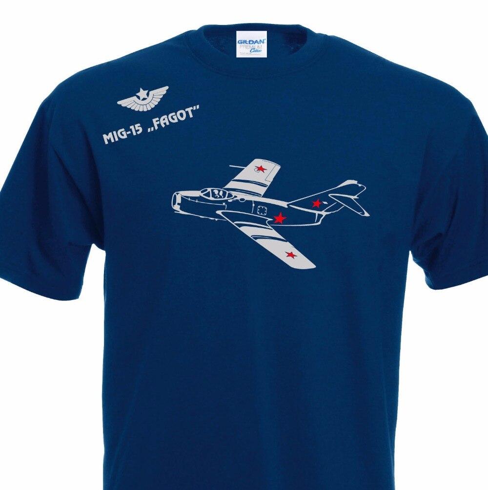 Camiseta de algodón de cuello redondo de moda para hombre Camiseta Mig-15 Fagot Corea Vietnam Mikojan Jet Flugzeug película camiseta sudadera