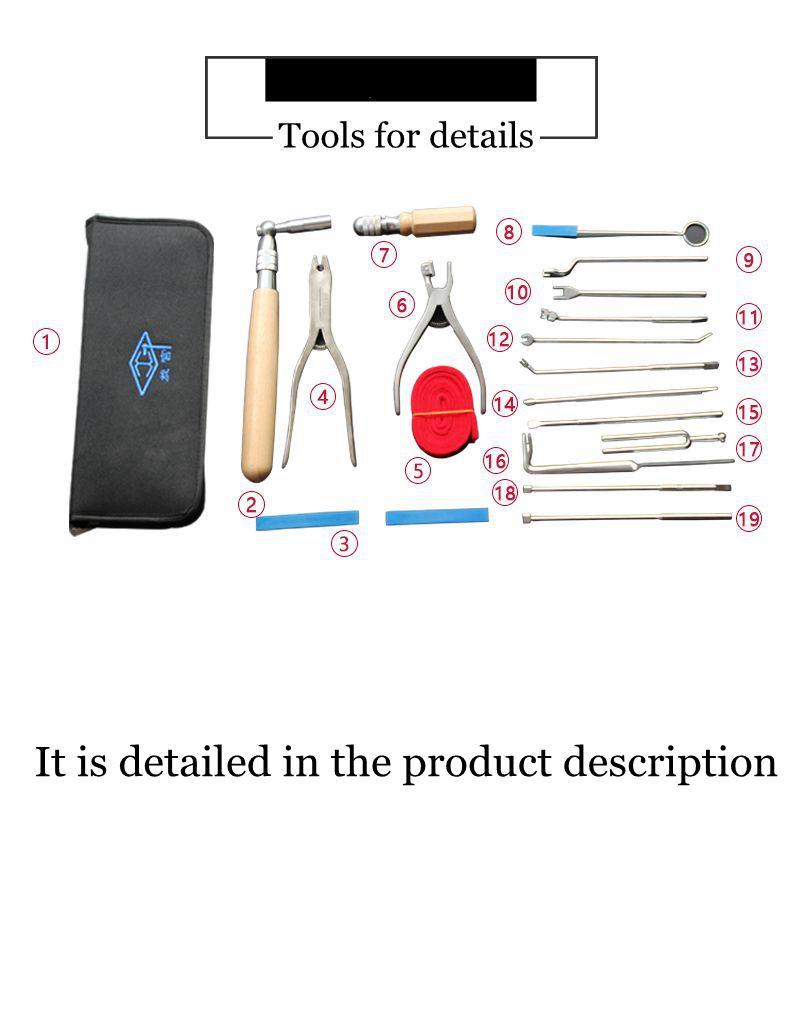 Piano tuning tools accessories  -  Piano maintenance tools (18 tools +1 bag)  - Piano parts enlarge