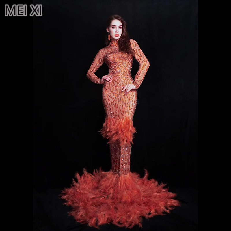 Shining noble flame red feather full diamond dress birthday celebration party banquet evening concert ball singer costume
