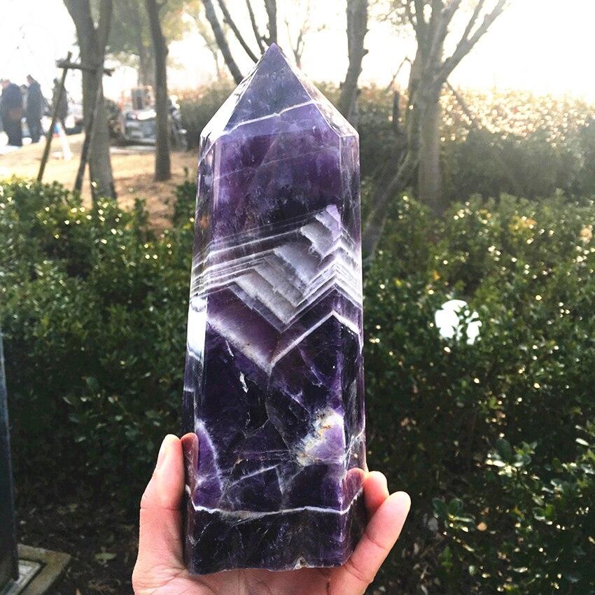 1700-2000g sueño natural amatista gema obelisco varita pionte reiki cristales curativos proporcionar energía como regalo