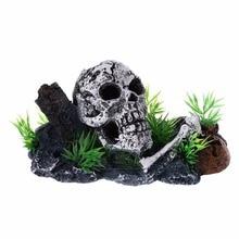 Pirate Skull Skeleton Aquarium Ornament Hiding Cave Fish Tank Decoration Decor N27 Drop Ship