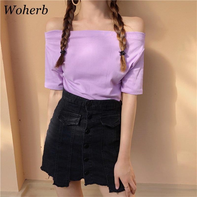 Woherb camiseta femenina 2020 verano Sexy fuera del hombro Tops Casual sólido estilo coreano Ropa Camisetas Mujer Camisas Mujer 21045