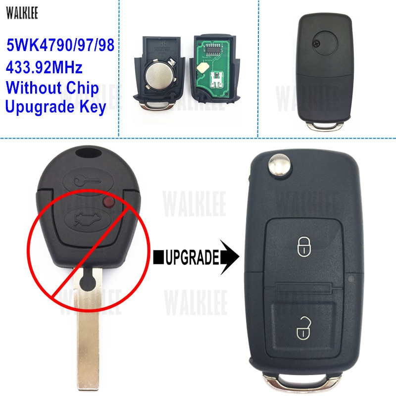 Walklee chave remota para seat alhambra/ibiza/arosa/cordova 5wk4790/433.92 sem imobilizador, 97/98 mhz chip de chip