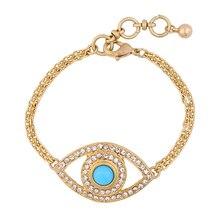 Prix en vrac mode cristal incrusté bleu Orange oeil Bracelet couleur or chaîne épaisse Design à la mode Bracelet à breloques pour européen