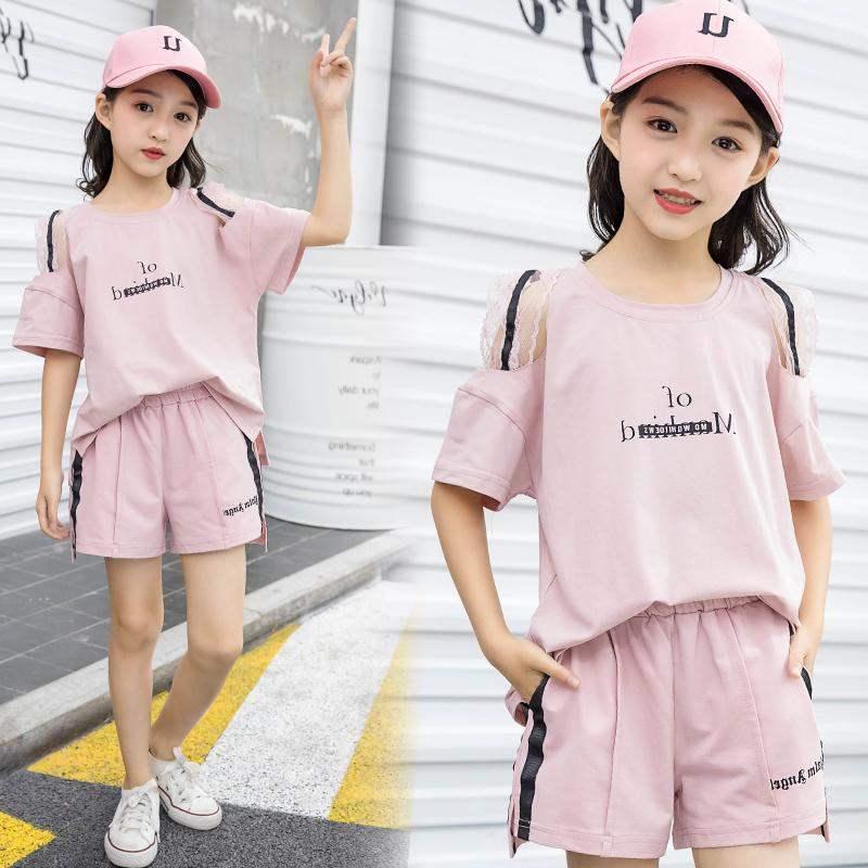 Niñas verano nuevo traje de moda 2 versión coreana 5 niñas 8 verano 7 niños traje de dos piezas 12 años de edad, 10 años