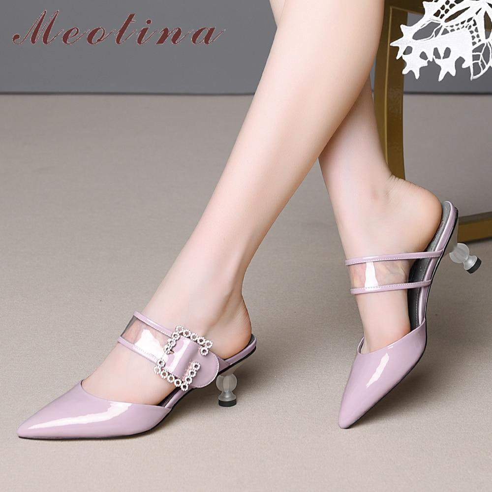 Meotina zapatos mujeres verano Zapatos mujeres sandalias Natural cuero genuino cristal Strange estilo tacones zapatos hebilla transparente zapatillas 43