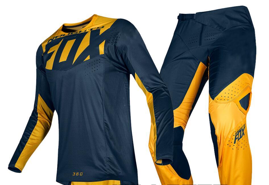 Nuevo 2019 travieso Fox para hombre azul marino/amarillo 360 Kila suciedad bicicleta Jersey y kit de pantalones Combo adulto Motocross Gear Set/MX/ATV suciedad bicicleta