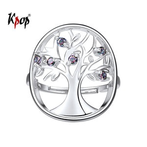 Kpop Tree of Life Ring Wedding Bridal Jewelry Gift Rainbow Stone 925 Sterling Silver Adjustable Family Tree Ring for Women R6247
