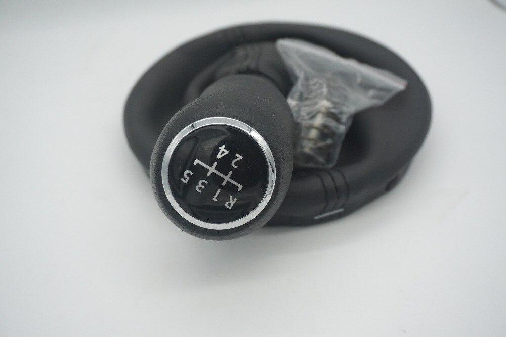 DZ negro de cuero de arranque 5 de perilla de palanca de cambios de coche para VW transporte T5 T6 MKV MKVI (03-11)