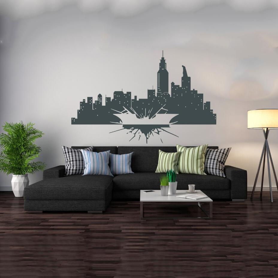 Wall Decal Vinyl Sicker Batman Dark Knight Vinyl Gotham Skyline City Kids Room Gift Home House Decoration Wallpaper Mural WW-239