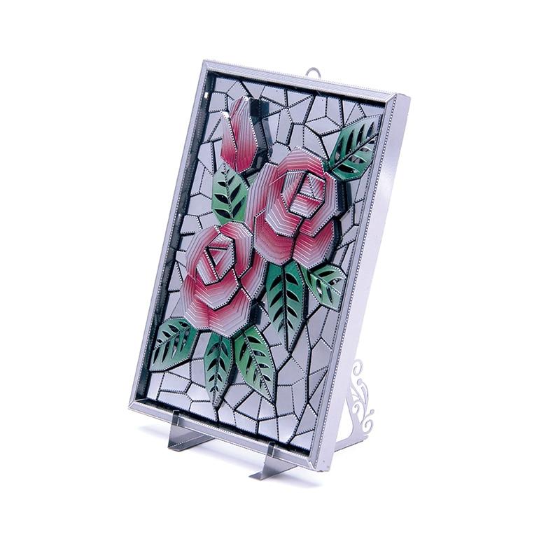2018 Micromundo 3D metal Modelo de Corte A Laser DIY Jigsaw puzzle O pacto de rosas presentes Para Adultos Brinquedos Educativos de Desktop decoração