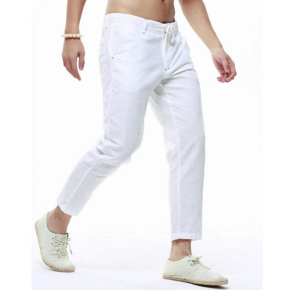 Verano Mens Lino pantalones Capri Slim ligeros piernas pantalones casuales pantalones de los hombres de ropa de calidad pantalones de algodón Hombre Pantalones de lápiz, PT-136