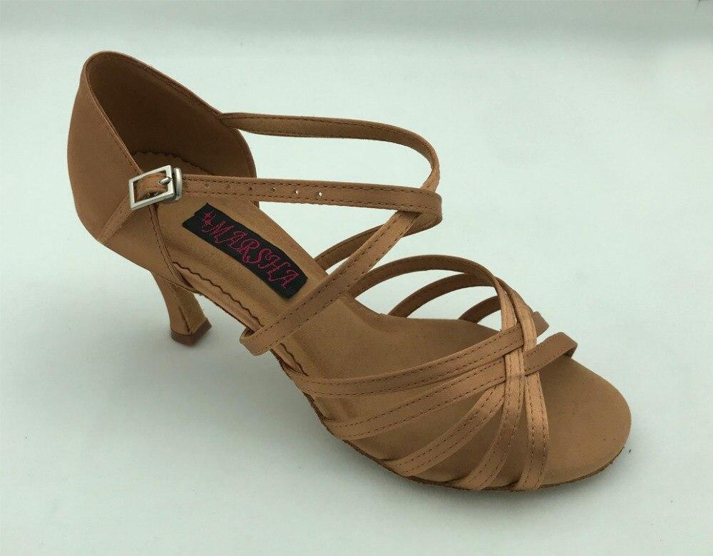 Gran oferta envío gratis zapatos de salón Latino salsa dance Zapatos marrón satinado oscuro de alta calidad 6201B-DT