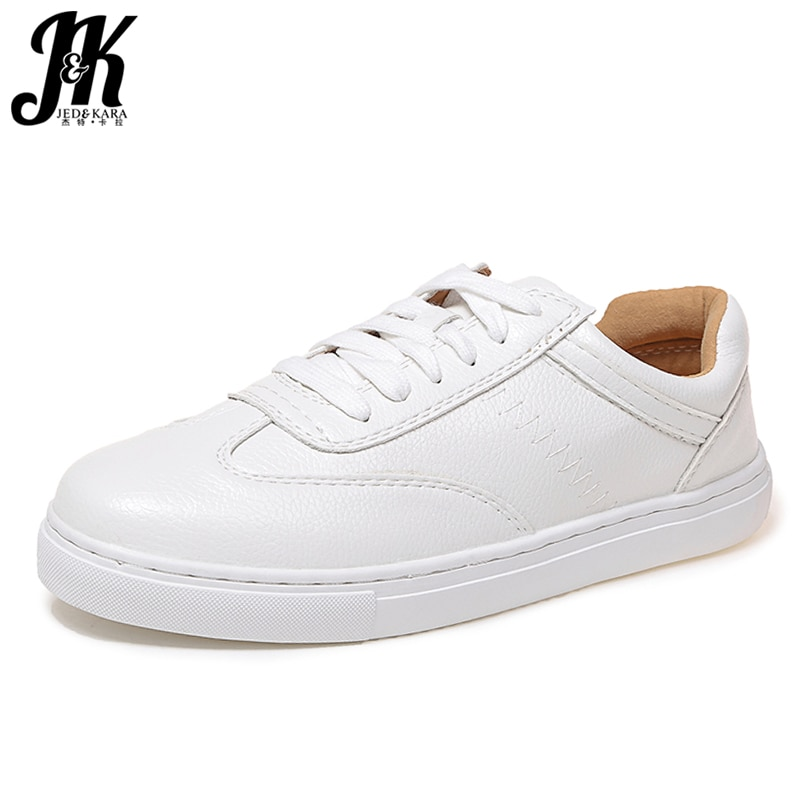 JK 2019 nuevo primavera mujer plana de encaje de punta redonda calzado Dorky papá Zapatos Niña zapato mujer Casual Zapatillas Zapatos mujeres blanco