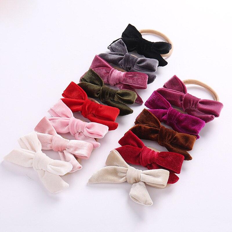 36pc/lot Wholesale Girls Velvet Hair Bow With Nylon Headband ,kids girls gift Christmas hair accessories