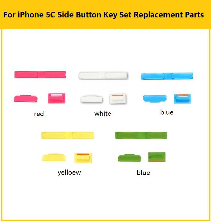 Bouton muet & Power & Volume et plateau de carte Sim pour les touches latérales de liphone 5C et le support de fente de carte sim couleur rouge blanc bleu jaune bleu