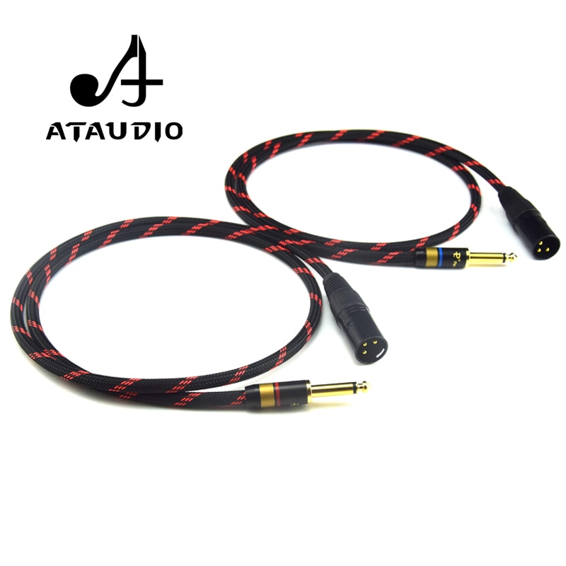 ATAUDIO de alta fidelidad 6,35mm a XLR Cable macho 4N OFC 2 XLR macho a Dual 6,35 Cable 0,5 m 1m