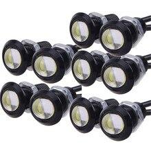 10 pièces/lot brouillard DRL jour 23MM COB 9W lumière diurne LED aigle oeil lumière blanc bleu jaune rouge couleur DC12V Signal lampe