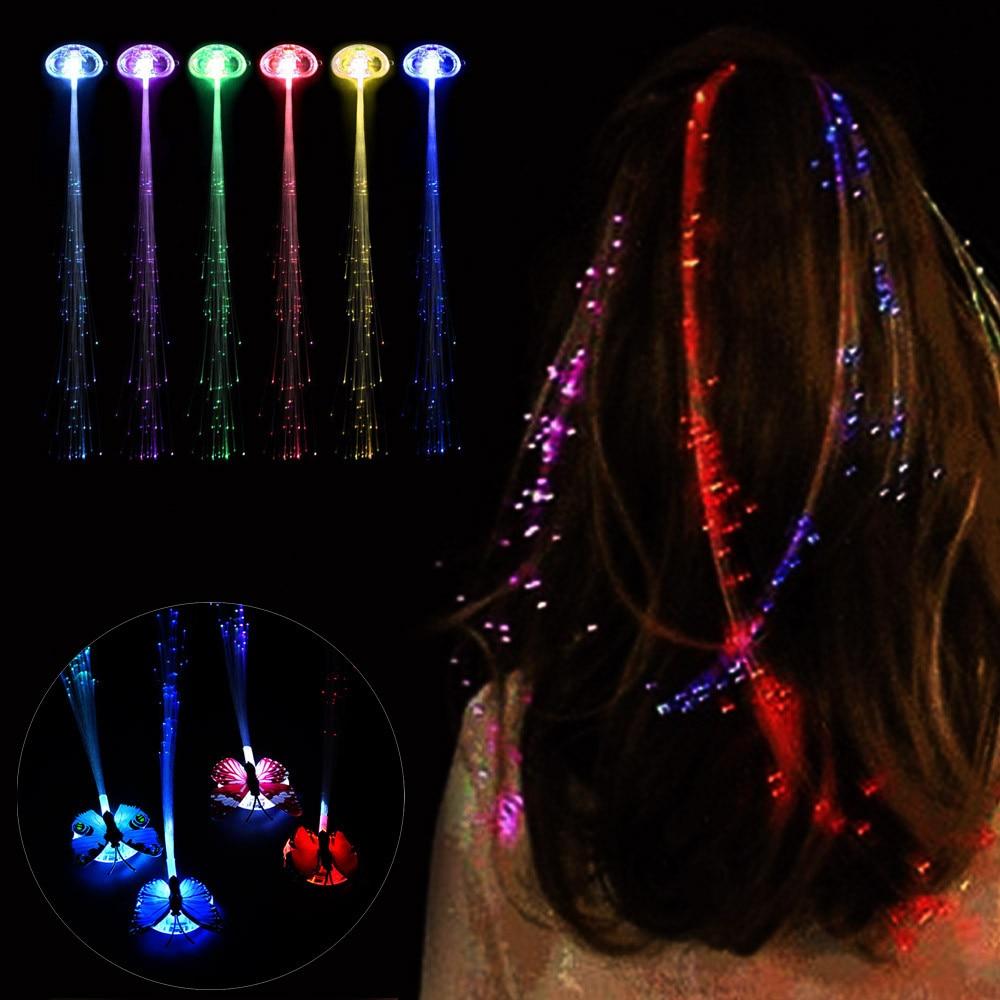 MUQGEW LED pelucas brillante Flash luz trenza de pelo Clip horquilla juguete para cumpleaños o Navidad los niños chico regalo divertido # EW